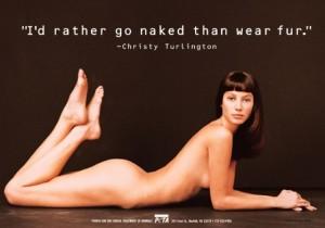 Christy Turlington in PETA's 'I'd Rather Go Naked' campaign. Photo courtesy PETA.