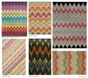 "Missoni as a brand is known for its vibrant colours and use of fabrics.  The ""Missoni""  chevron is known around the world, and incorporated into many of their designs."