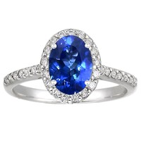 18K White Gold Sapphire Fancy Halo Diamond Ring by Brilliant Earth