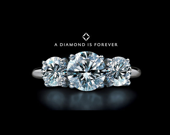 Thanks to its hugely successful campaign, DeBeers made it customary to offer a diamond engagement ring.