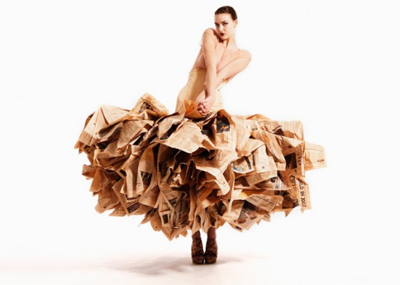 Gary Harvey Upcycled Couture Newspaper Gown
