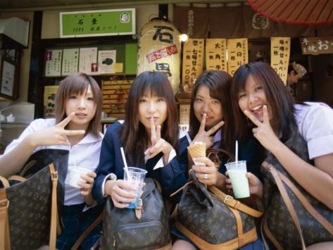 School Girls with Louis Vuitton Bags, Tokyo, Honshu, Japan