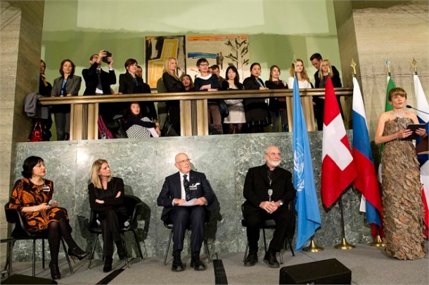 "Paola Deda (right) Moderator, Chief of the UNECE/FAO Forestry and Timber Section, Maestro Michelangelo Pistoletto (second from right) Città dell'Arte Pistoletto Foundation, Mario Boselli (third from right) President Italian National Chamber of Fashion, Xenya Cherny-Scanlon, Founder, Green Stilettos, and Rossella Ravagli (left) Representative of Gucci at the opening of the Fashion Exhibit with a Dance Show during launch of UNECE/FAO ""Forests For Fashion – Fashion for Forests"". 21 March 2014. UN Photo / Jean-Marc Ferré"