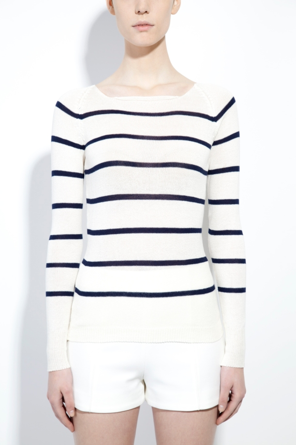 Striped off-white organic cotton sweater by MURIEE for Honest by.
