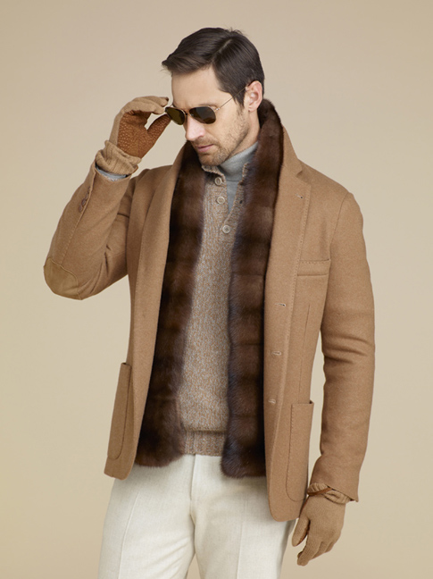 Vicuna jacket by Loro Piana. To be worn sans fur vest for the eco-luxurious look.