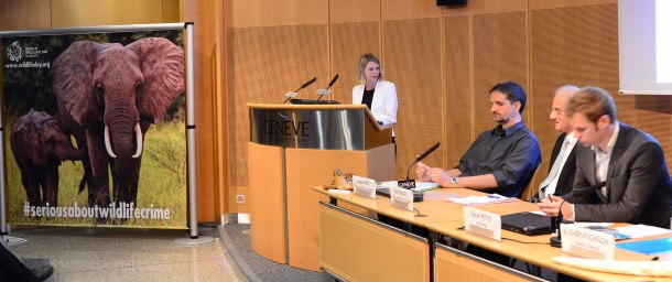 Green Stilettos Founder Xenya Cherny-Scanlon speaking on the occasion of World Wildlife Day in Geneva. Photo courtesy CITES.