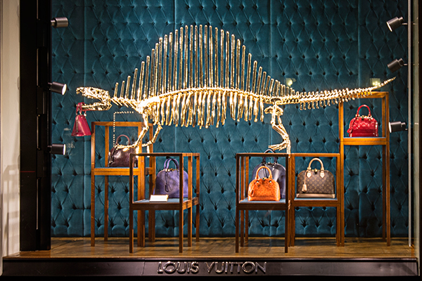 Dinosaur display at the Louis Vuitton Champs-Elysées flagship store.