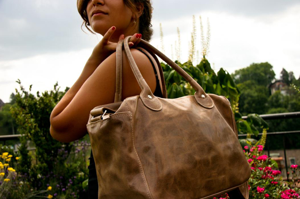 Saddlebags? Saddlemaker Fiona Losinger produces unique vegetable tanned leather bags. Photo via DESIGNGUT.