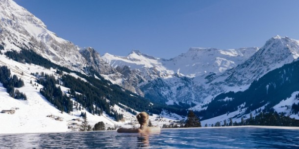 The Cambrian outdoor infinity pool. Photo via The Cambrian Adelboden Hotel & Spa.