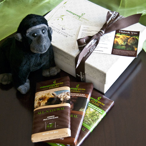 Adopt a Gorilla gift chocolate pack in support of African Wildlife Foundation. Photo via Endangered Species Chocolate.