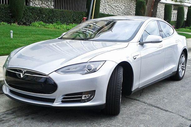 Tesla Model S electric car. Photo credit: Shal Farley (shalf) via Wikimedia.