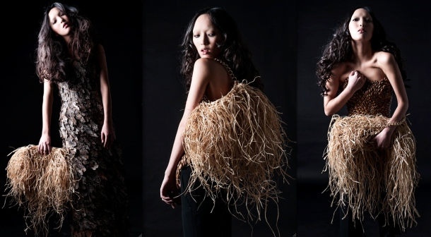 Raffia creations by Tiziano Guardini were among the designs featured in the Forests for Fashion show. Photo via FNM.