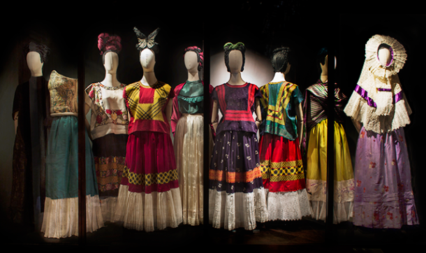 A selection of native Tehuana looks on view at the Museo Frida Kahlo exhibition. Photo by Miguel Tovar via Blouin Artinfo.