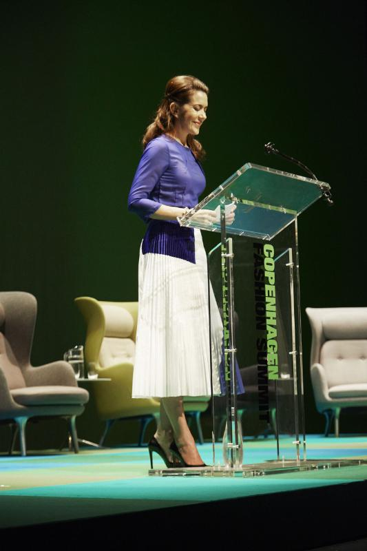 HRH Crown Princess Mary of Denmark speaking at the Copenhagen Fashion Summit. Photo via CFS.