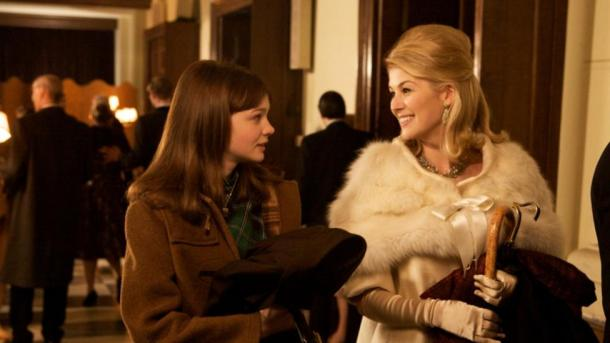 Carey Mulligan (L) and Rosamund Pike (R) in a scene from An Education (2009).