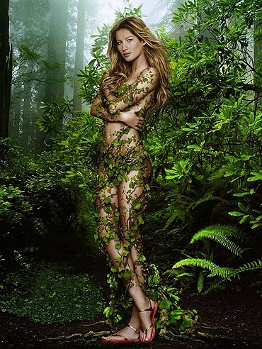 UNEP Goodwill Ambassador Gisele Bundchen wearing nothing but green vines on Earth Day. Photo via Gisele Bundchen's Facebook page.