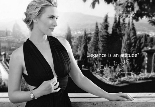 "Kate Winslet in Longines ad ""Elegance is an attitude""."