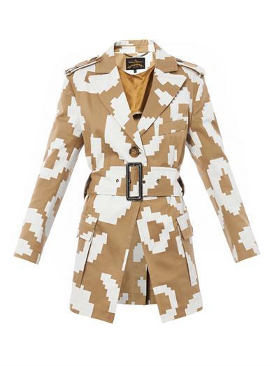 Vivienne Westwood Anglomania pixelated leopard-print trench coat.