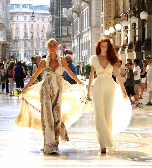 Models strutting their stuff in Leila Hafzi's designs in Milan. Photo via Leila Hafzi.