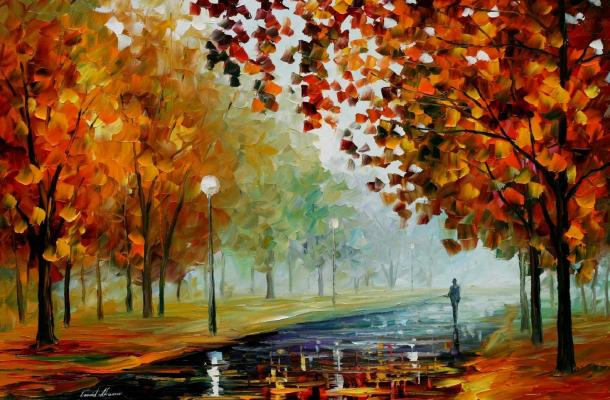 Foggy Autumn by Leonid Afremov via afremov.com