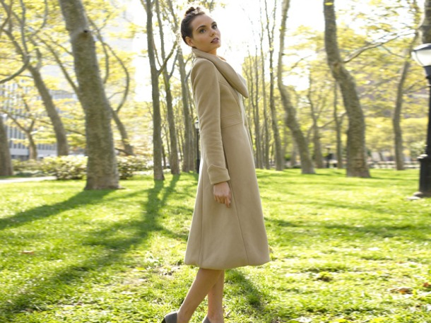 Audrey coat by Vaute Couture is made of vegan shell and a recycled satin-ripstop lining. Photo via Ecouterre.