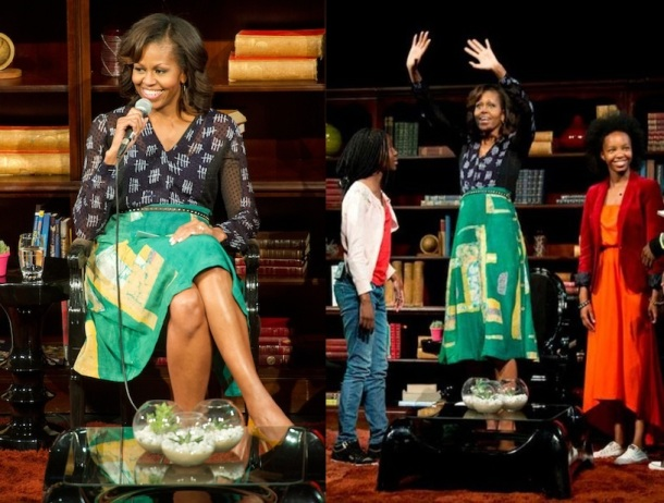 Michelle Obama wearing Ghanaian and Nigerian designers for her MTV Base interview. Photo credit: Leeroy Jason.