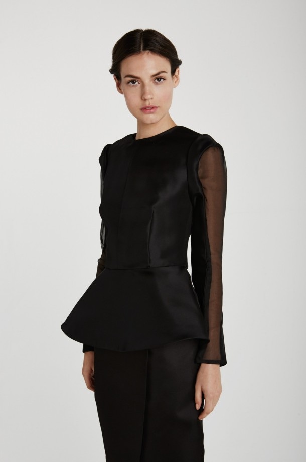 Mina + Olya peplum top in sustainable organza. Photo via Mina + Olya website.