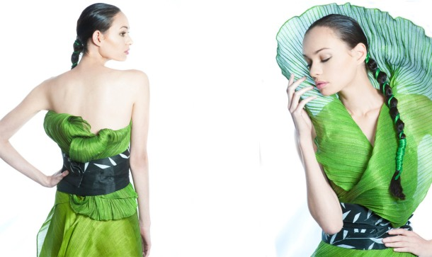 Filipino designer Ditta Sandico Ong makes fashion out of banana and other natural fibers.