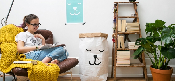 Stockholm-based Tellkiddo offers creative paper and fabric storage bags. Photo via tellkiddo.com.