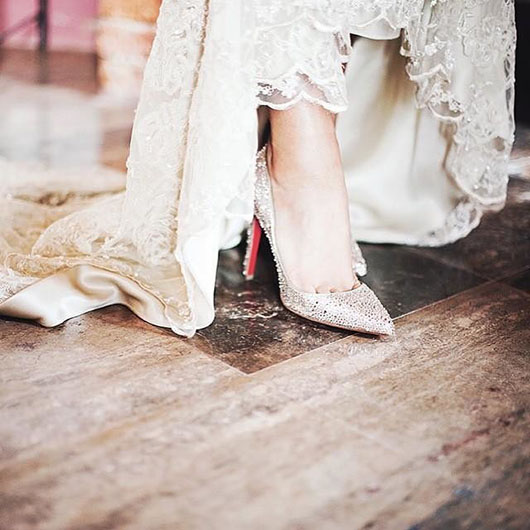 Bridal shoes from Christian Louboutin's spring/summer 2016 collection.