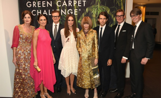 Hosts of the Green Carpet Challenge event celebrating fashion and cinema.